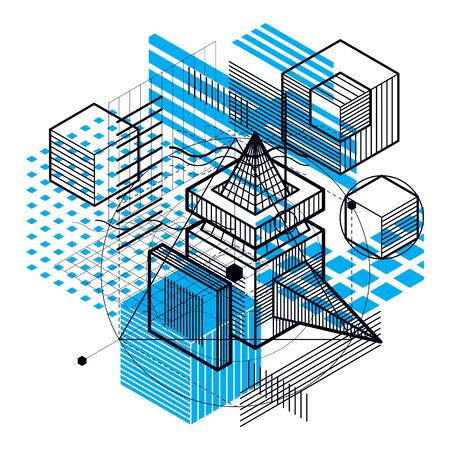 Vector background with abstract isometric lines and figures. Template made with cubes, hexagons, squares, rectangles and different abstract elements. Illustration