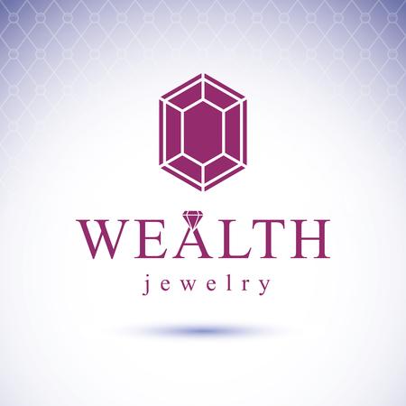 Vector precious decorative element, polygonal. Luxury diamond sign emblem. Brilliant jewelry illustration.