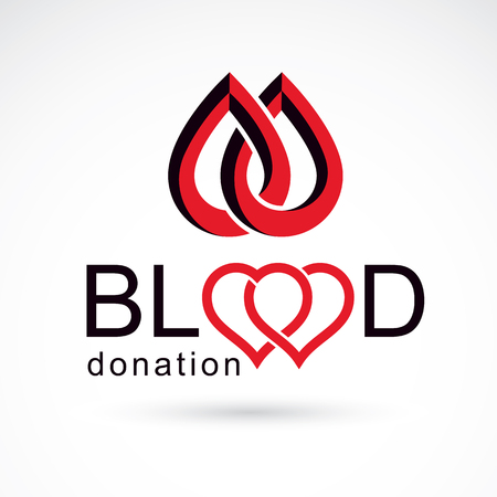blood transfer: Blood donation inscription made with heart shape and blood drops. Charity and volunteer conceptual logo for use in medical and social theme advertisement. Illustration