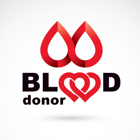 blood transfer: Blood donor conceptual illustration created with heart shape and blood drops. Medical rehabilitation abstract logo for use in charitable organizations. Illustration
