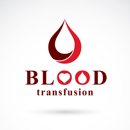 blood transfer: Vector illustration of heart shape. Blood transfusion concept, charity and volunteer conceptual logo for use in medical care advertisement.