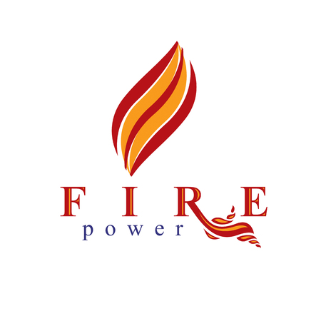 Fire element abstract logo for use as petrol corporate emblem. Oil and gas vector business conceptual symbol. Illustration