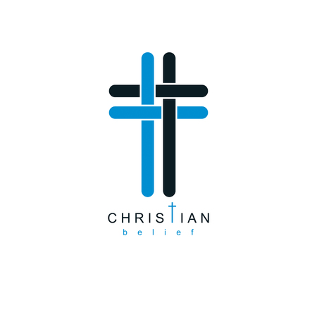 immortal: Christianity Cross true belief in Jesus vector symbol, Christian religion icon.