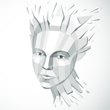 Vector dimensional low poly female portrait, graphic monochrome illustration of human head broken into fragments. 3d demolished object created with fractures and different particles. Illustration