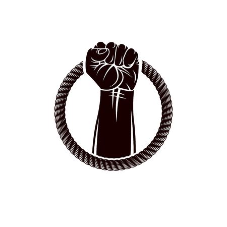 Vector illustration of muscular clenched fist of strong man raised up and surrounded by rope. Revolution leader concept, civil war abstract illustration.