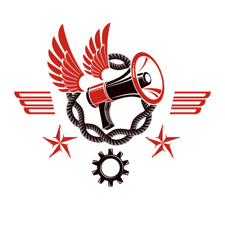 proclaim: Decorative vector emblem composed with winged loudspeaker and chain. Propaganda as the means of manipulation and control, freedom for the prisoners. Illustration