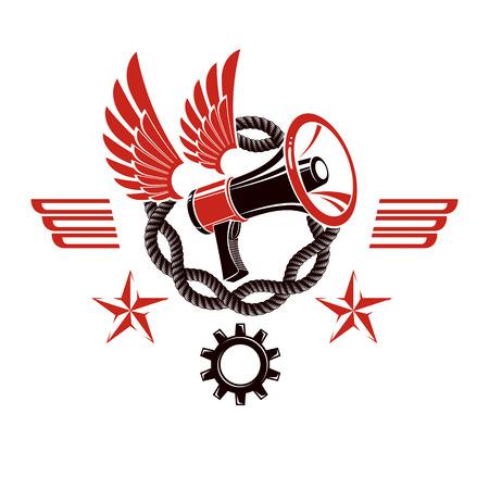 obey: Emblema decorativo del vector compuso con el altavoz y la cadena alados. Propaganda como medio de manipulación y control, libertad para los prisioneros.