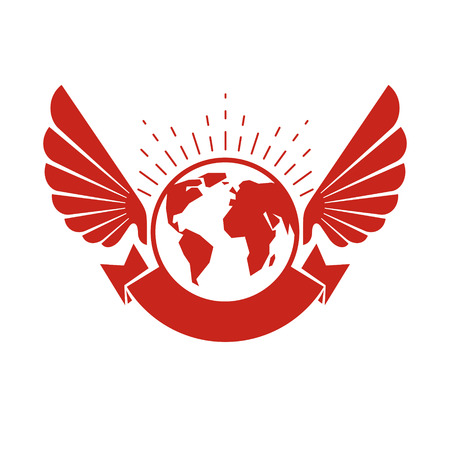 Vector Earth planet winged illustration. Inspiration and encouragement concept Illustration