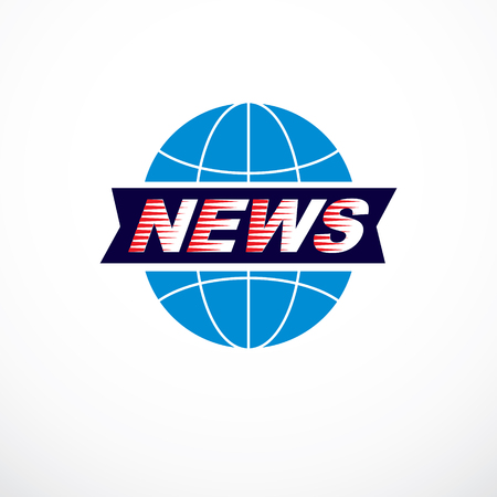 World and global news concept, vector emblem of blue Earth divided with meridians and composed with news inscription. Illustration