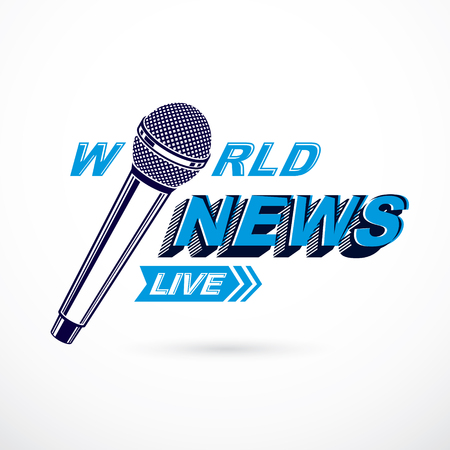 journalistic: News and facts reporting vector logo composed using world news inscription and journalistic microphone equipment.