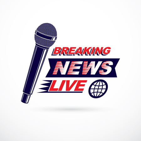 Hot news conceptual logo composed using breaking live news writing and press microphones. Global broadcasting theme illustration.