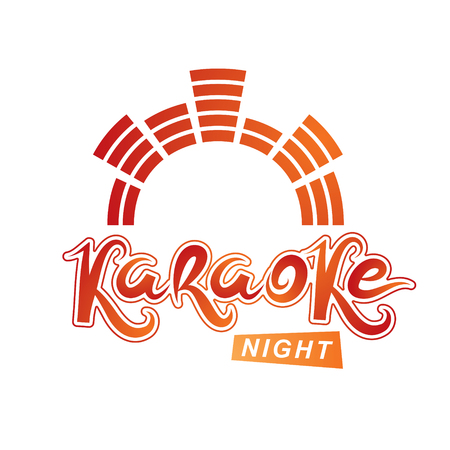 Karaoke party vector writing composed with mute symbol, leisure and relaxation lifestyle emblem for nightclub party invitation poster. Illustration
