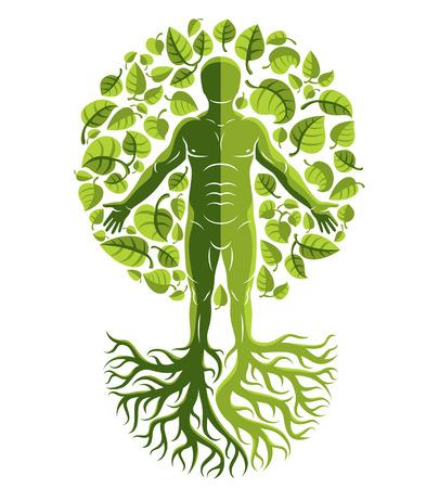 벡터 인간, 개성 나무 뿌리로 만든 및 에코 녹색 잎으로 둘러싸인. 가계도, 생명의 나무 개념적 그래픽 일러스트 레이 션.