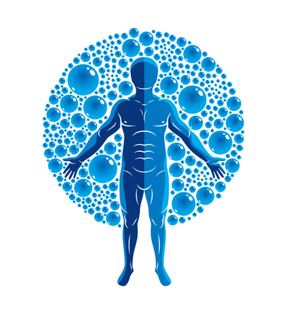 spring balance: Vector illustration of athletic man isolated on white and surrounded with water bubbles, element of water. Environment conservation metaphor.