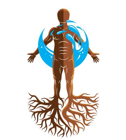 근육 남자, 나무 뿌리를 사용 하여 만들고 물 공에 둘러싸여의 벡터 그래픽 일러스트 레이 션. 국제 세계 물의 날.