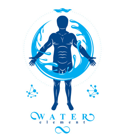 Vector graphic illustration of strong male, body silhouette surrounded by a water ball. Living in harmony with nature. Illustration