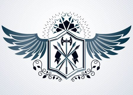 Luxury heraldic vector emblem template made using pentagonal star and armory