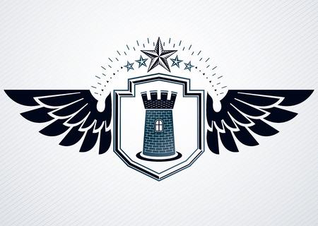 citadel: Luxury heraldic vector emblem template made using medieval fortress and pentagonal stars