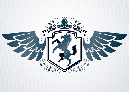 Heraldic Coat of Arms decorative vintage emblem, vector illustration of horse and eagle wings
