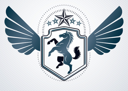 Vintage decorative heraldic vector emblem composed with horse illustration, eagle wings and pentagonal stars