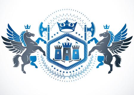 Heraldic design, vector vintage emblem created with graceful Pegasus illustration and medieval stronghold.