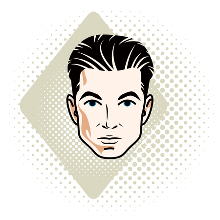 features: Vector illustration of handsome brunet male face, positive face features, clipart. Illustration