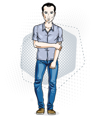 athletic wear: Confident handsome brunet young man standing. Vector illustration of male wearing casual clothes, jeans pants and cotton shirt.