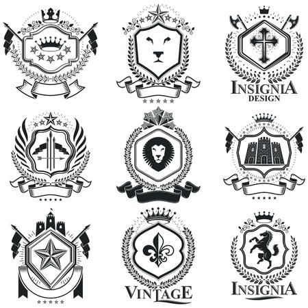 citadel: Vintage heraldry design templates, vector emblems. Collection of symbols in vintage style.