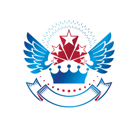 Winged ancient Star emblem decorated with imperial crown and luxury ribbon. Heraldic vector design element, 5 stars award symbol.  Retro style label, heraldry logo.