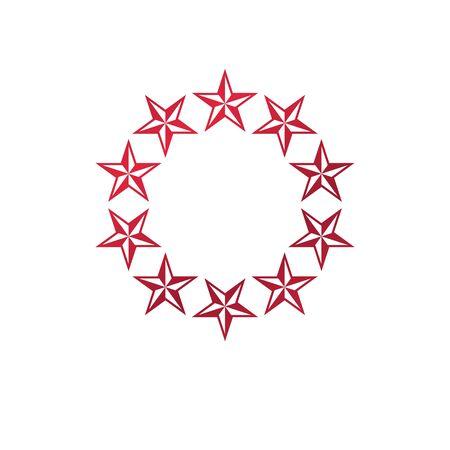 Military Star emblem, victory award symbol.  Heraldic Coat of Arms decorative logo isolated vector illustration. Illustration