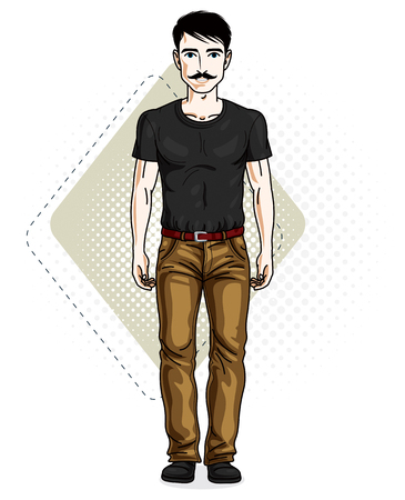 Handsome brunet young man poses on modern background with hexagons. Vector illustration of male with mustaches, hipster. Lifestyle theme clipart. Illustration