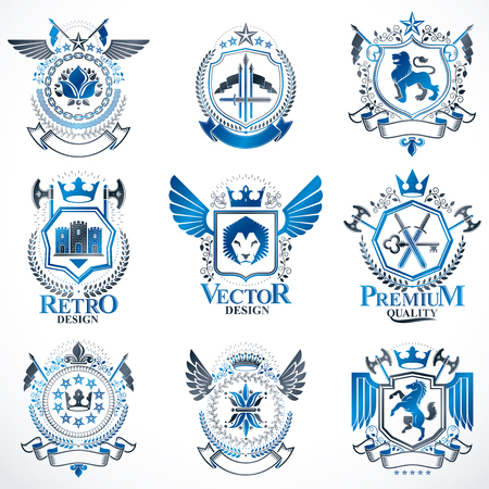 citadel: Heraldic vector signs decorated with vintage elements, monarch crowns, religious crosses, armory and animals. Set of classy symbolic graphic insignias.