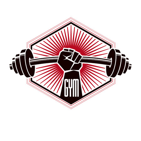 Bodybuilding and fitness sport logo templates, retro style vector emblem. With barbell and strong hand fist. 矢量图像