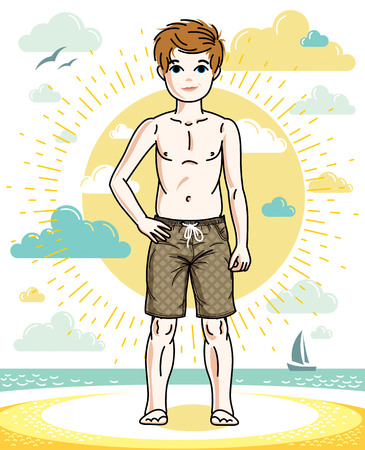 Sweet little boy young teen standing in colorful stylish beach shorts. Vector pretty nice human illustration. Childhood lifestyle clipart. Illustration