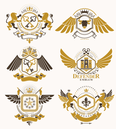 citadel: Set of luxury heraldic vector templates. Collection of vector symbolic blazons made using graphic elements, royal crowns, medieval castles, armory and religious crosses.