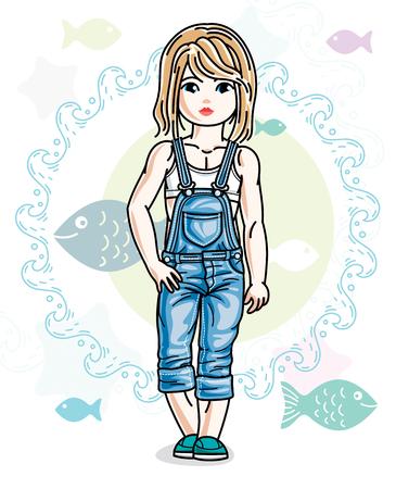 小さなブロンドの女の子幼児流行のカジュアルな服で立っています。ベクターの子供のイラスト。海の動物のテーマ。  イラスト・ベクター素材