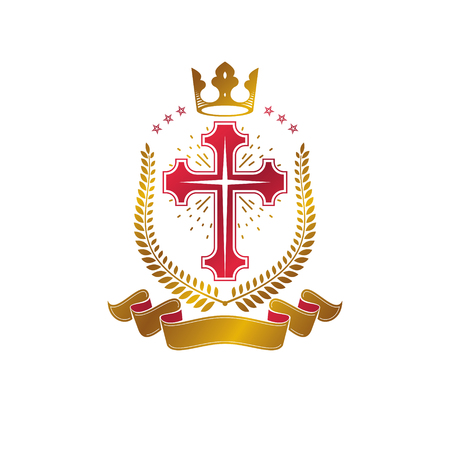 Christian Cross golden emblem created with royal crown, laurel wreath and luxury ribbon. Heraldic Coat of Arms decorative logo isolated vector illustration. Religion and spirituality symbol. Ilustração