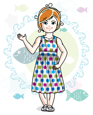 Little redhead girl cute child toddler in casual clothes standing on marine backdrop with ocean and fishes. Vector pretty nice human illustration. Illustration