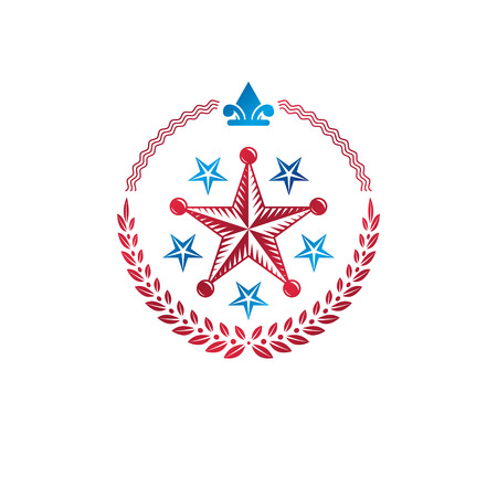 Military Star emblem decorated with royal lily flower and laurel wreath. Heraldic vector design element, 5 stars guaranty insignia.  Retro style label, heraldry logo.