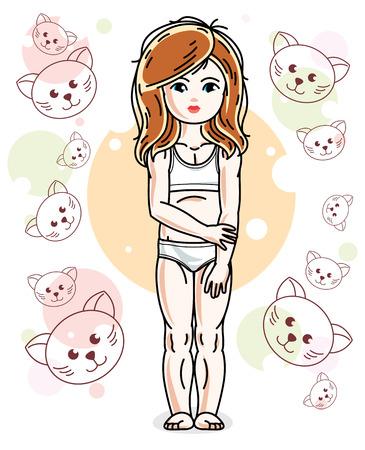 Douce petite fille rouquine debout sur un fond d'enfant avec des chatons et des culottes. Vector kid illustration. Banque d'images - 85270661