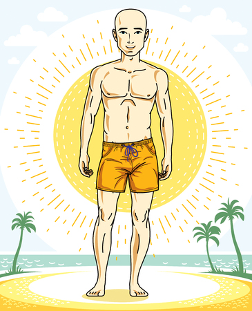 Handsome bald man standing on tropical beach and wearing beachwear shorts. Vector human illustration. Summer vacation theme. Illustration