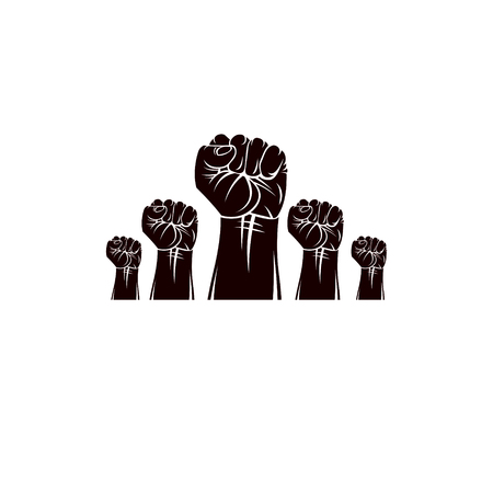 Raised clenched fists vector illustration. Revolution idea symbol can be used as tattoo, no limits and restrictions concept.
