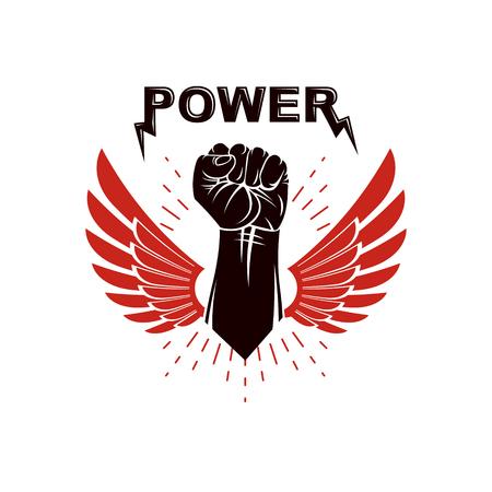 Elevado puño cerrado logotipo con alas. El mejor símbolo del vector del combatiente, concepto del campeón.