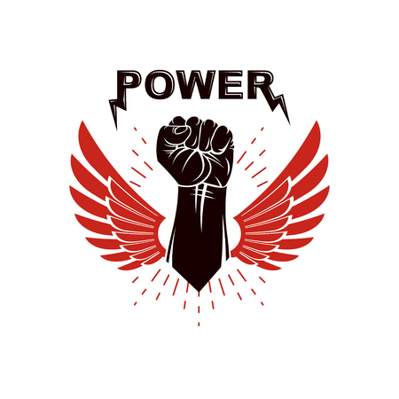 Raised strong clenched fist winged logo. Best fighter vector symbol, champion concept. Illustration