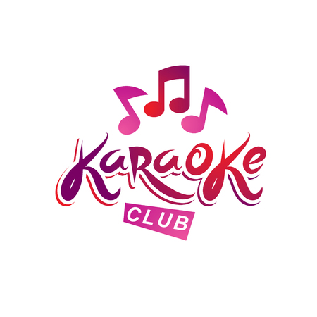 melodic: Karaoke club vector emblem created using musical notes, design elements for karaoke club flyers cover design.