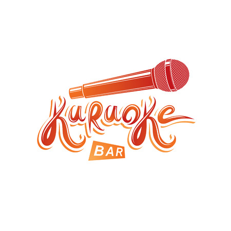 Karaoke bar lettering, vector microphone emblem. Leisure and relaxation lifestyle presentation