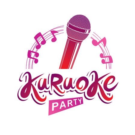 quaver: Microphone audio equipment composed with musical notes, can be used as vector emblem for karaoke party advertising and nightclub discotheque invitation poster. Illustration