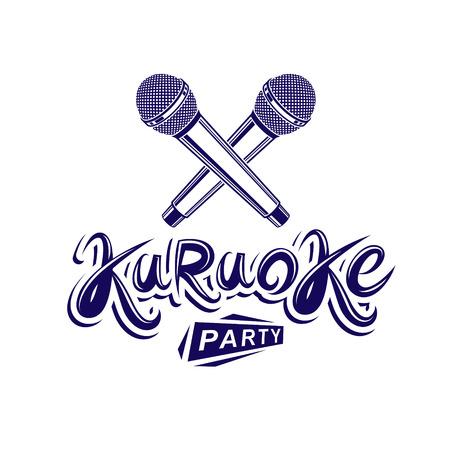 Karaoke party lettering, rap battle vector emblem created using two crossed microphones audio equipment. Illustration