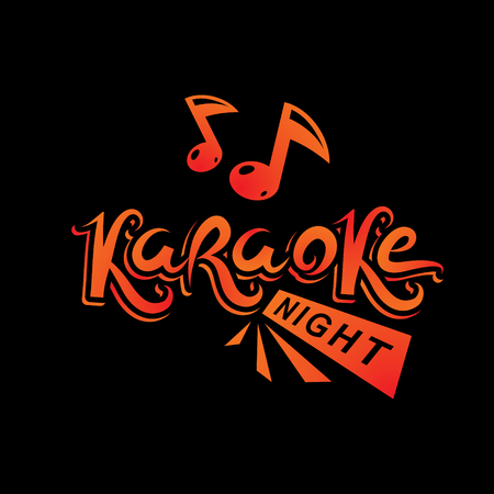 Karaoke party vector writing composed with musical notes, leisure and relaxation lifestyle emblem for nightclub party invitation poster.