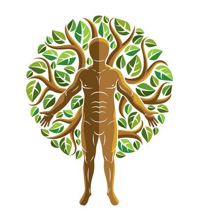 강한 남성, 몸 실루엣 흰색 배경에 서 녹색 잎을 사용 하여 만든의 벡터 그래픽 일러스트 레이 션. 에코 친화적 인 생활, 인간과 자연 조화 개념. 일러스트